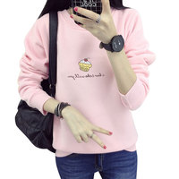 Autumn Winter Women S Ice Cream Cashmere Sweathirt Thick Loose Tops Cute Hoodies Letter Shirt Pink
