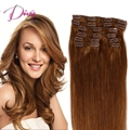 Free Shipping Brazilian Clip In Human Hair Extensions Straight Clip-In Hair Extensions Full Head 8pcs 120g/set #30 Color