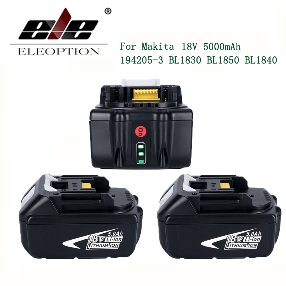 ELE ELEOPTION 3PCS 5000mAh 18V Battery with LED Indicator for Makita LXT Lithium-Ion Power Tools 194205-3 BL1830 BL1850 BL1840 коллекторная группа emmeti topway 1хм24х19 10 выходов с расходомерами 1298196
