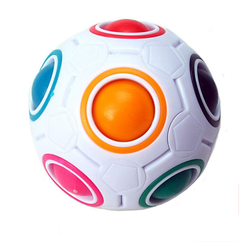 Sjov Creative Sfærisk Puslespil Cube Speed Rainbow Ball Fodbold Puslespil Kids Uddannelseslære Legetøj til børn Magic Ball
