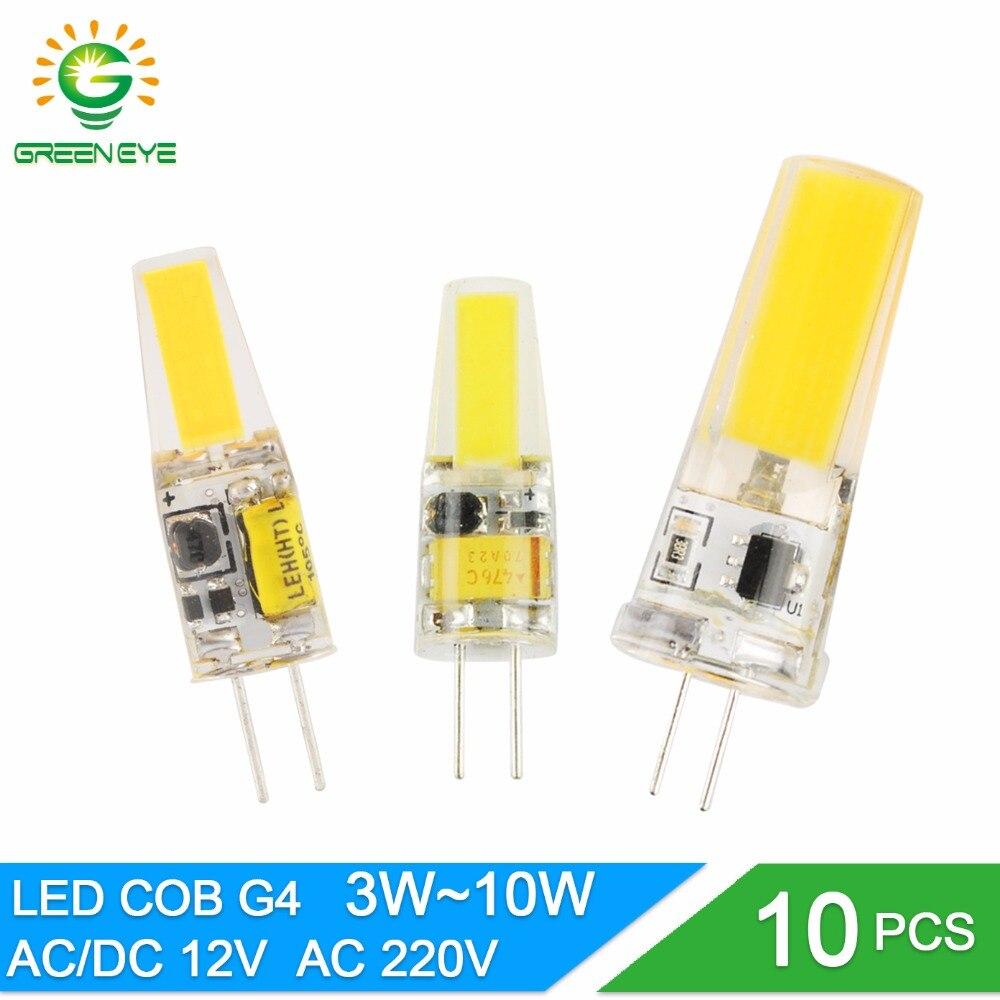 Greeneye 10 pçs/lote led g4 lâmpada ac/dc 12 v 220 3 w 6 10 cob smd led g4 lâmpada pode ser escurecido substituir halogênio holofotes lustre