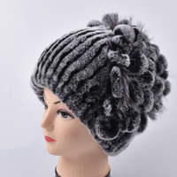 Sale 2017 Winter Beanies Fur Hat For Women Knitted Rex Rabbit Fur Hat With Fox Fur