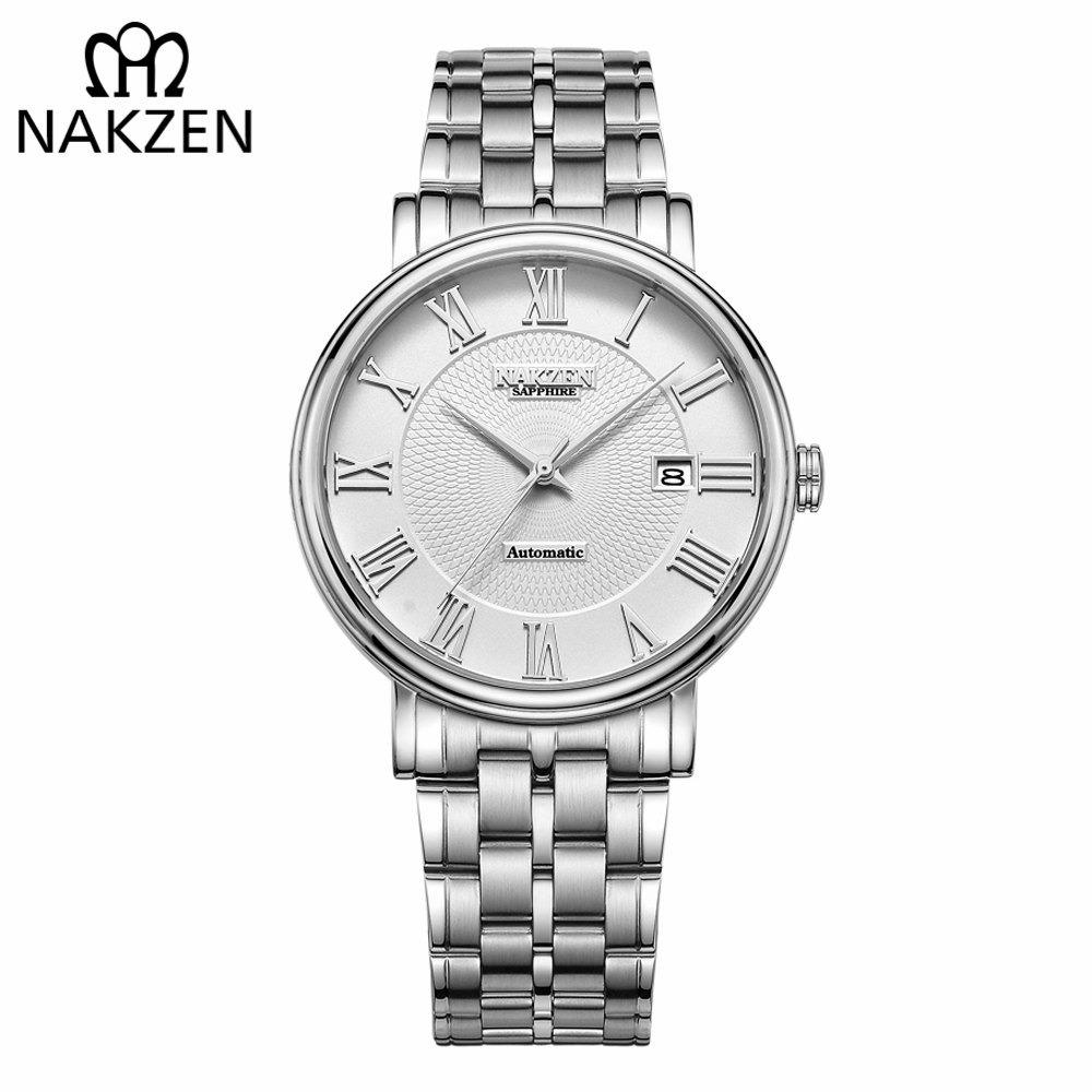 NAKZEN Men Classic Automatic Mechanical Watches Brand Luxury Man Stainless Steel Wristwatch Clock Relogio Masculino Miyota