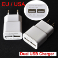 EU USA Plug 2 USB 5V 2A Adapter Wall Chargers Mobile Phone Device Micro Data Charging Charger For iPhone iPad Samsung MP3