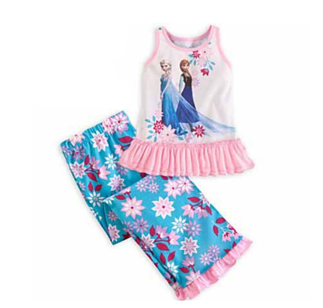 Children's Clothing fashion princess sister elsa anna girls Sets flowers print dress and pants cotton uhu598