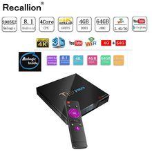 лучшая цена RECALLION T10 PRO Android TV BOX Amlogic S905x2 4G/64G Smart TV Box 2.4G+5G WIFI Bluetooth 100M LAN Set-Top Box