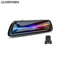 SLIVERYSEA 10 Full Touch IPS Streaming Media Driving Recorder Rearview Mirror HD 1080P Telescopic Lens Dual Lens Dash Cam