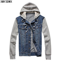 2017 Male hooded sportswear Outdoors Casual fashion Jeans Jackets Hoodies Cowboy Mens Denim Jacket and Coat Plus Size 4XL 5XL