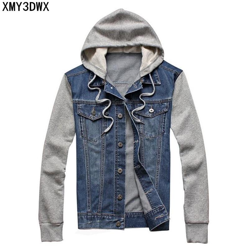 2018 Heren hooded sportkleding Buitenshuis Casual mode Jeans Jassen Hoodies Cowboy Heren Denim Jas en Jas Plus Size 4XL 5XL