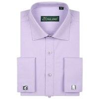 2017 Роскошные Для мужчин, плотная французские манжеты Смокинг Рубашка с длинными рукавами Classic-Fit Spread Collar Dress Shirt (запонки в комплекте)