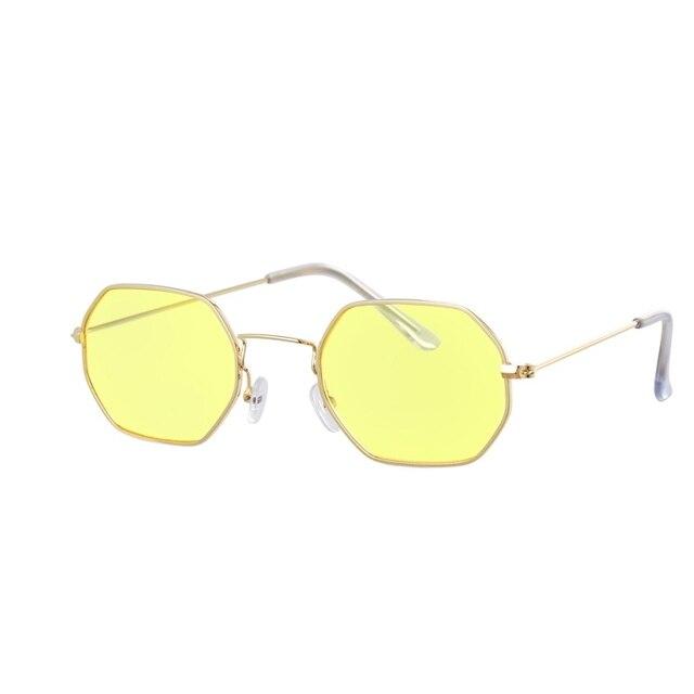 Gafas de sol hexagonales de color amarillo para mujer, anteojos de sol femeninos clásicos de diseñador de marca Retro, de lujo, con espejo 2
