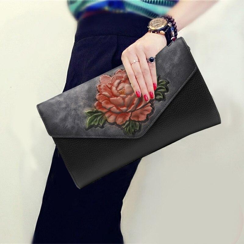 National Style Vintage Clutch Purse Soft Genuine Leather Top Leather 3D Flower Pattern Envelope Shoulder Bag Women Messenger Bag все цены