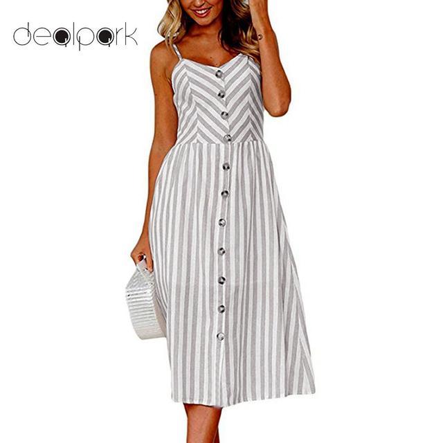 9a25be67c1 Plus rozmiar S-3XL kobiety lato Boho Sexy Backless sukienka w paski czeski  Spaghetti Strap