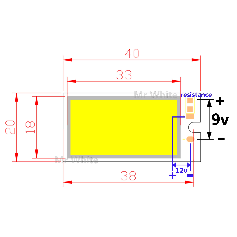 Купить с кэшбэком hot sale Mix Square LED COB Strip moudle 200mA 300mA 500mA 9V 12V DC 2W 3W 4W 6W Cold White COB Reading Light Source