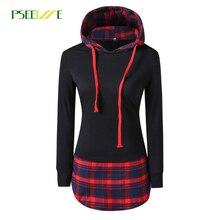 Pseewe/Для женщин повседневные толстовки Mujer плед с длинным рукавом Пуловеры для женщин толстовка с капюшоном женские пальто свободного кроя