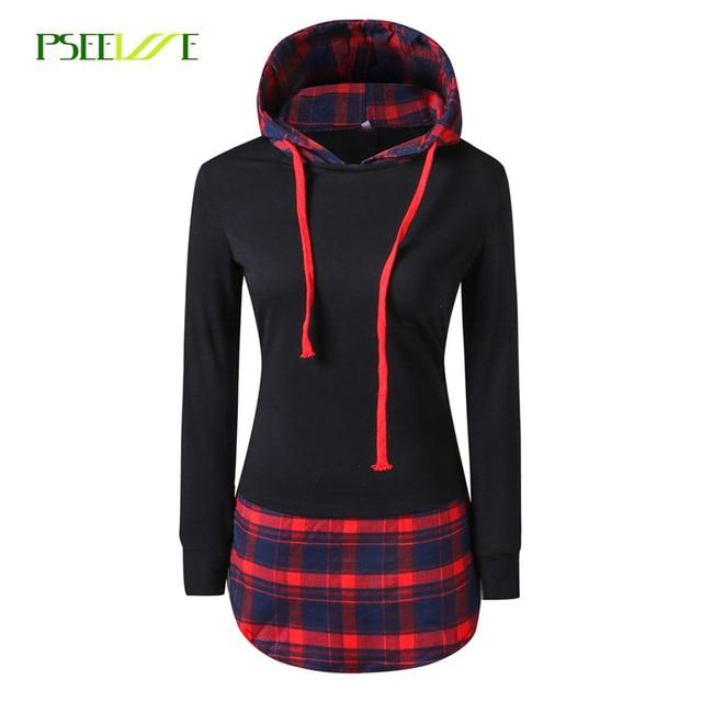 PSEEWE Women Casual Hoodies Sweatshirts Mujer plaid Long Sleeve Pullovers Sweatshirt Splicing  Hooded Hoody Female Loose Coat
