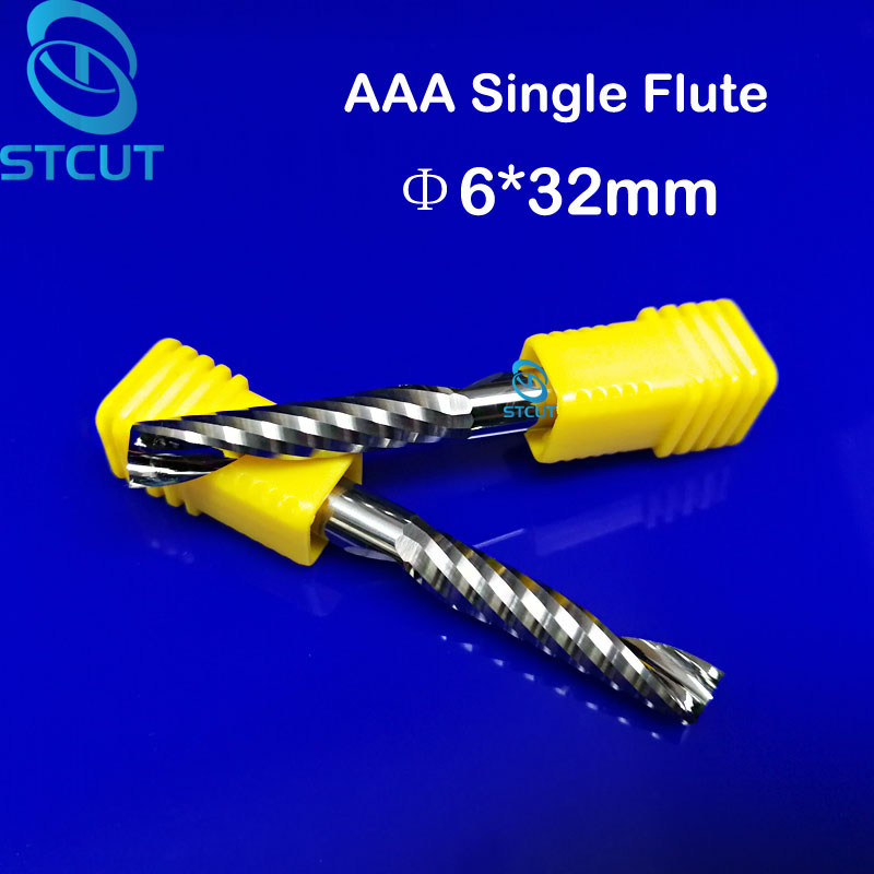 2pc AAA Grade 6mm SHK 32mm CEL Carbide CNC Router Bit one Flute Spiral End Mills Single Flutes Milling Cutter Spiral PVC Acrylic 6 32 super solid carbide one flute spiral bits for cnc engraving machine aaa series