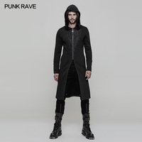 PUNK RAVE Men Gothic Hooded Long Coat Steampunk Vintage Party Long Trench Coat