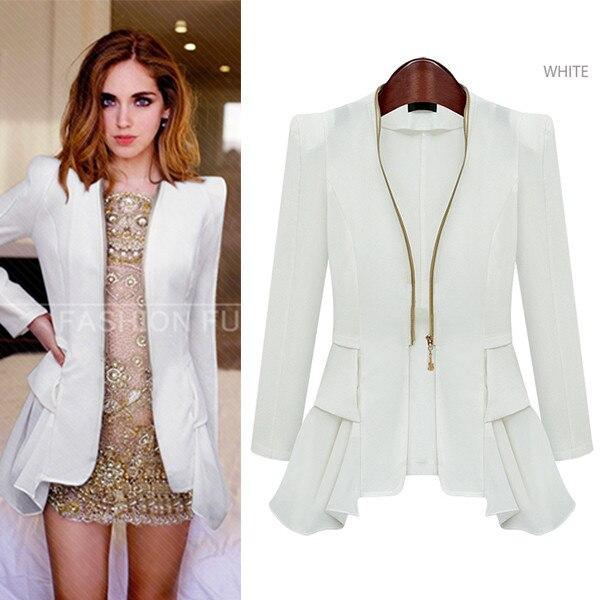 3292e517ab1 2014 Women Blazer Feminine Ladies Casual Suit Jacket Black White Color Long  Sleeve Woman Clothes Overcoat 4 Sizes Free Shipping