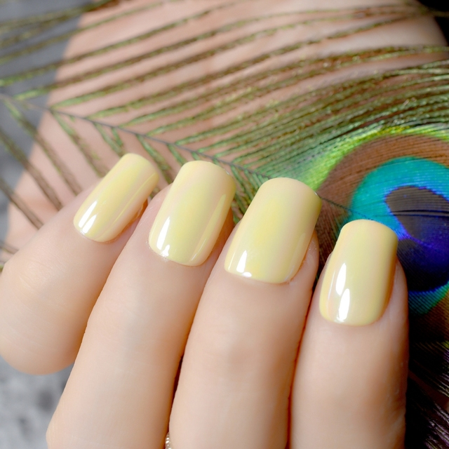 Holo Chameleon Mirror Square False Nails Bright Yellow Reflective Abalone Fake Nail Full Cover Acrylic