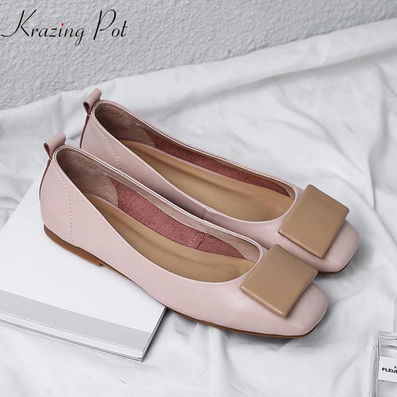 Krazing Pot full grain leather square toe streetwear fashion design buckle slip on simple classic European style cozy flats Lcf3 цена 2017