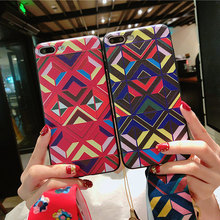Contrast Color rhombic National wind belt lanyard  Phone Case For iPhoneX soft shell TPU Phone Case For iPhone7 8 6 6S Cover