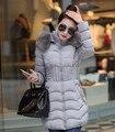 Дешевые wholesale2016Autumn Зима новая мода тонкий средней длины с капюшоном искусственного меха воротник вниз хлопка Куртка женская casaco