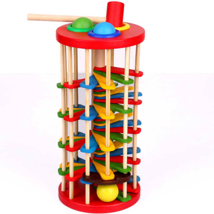 BOHS Pound and Roll Wooden Tower with Hammer Knock The Ball Off Ladder Children Educational Toys 2017 montessori education baby wood knocking ball ladder pound and roll tower kids puzzle early educational wooden toys set mz23
