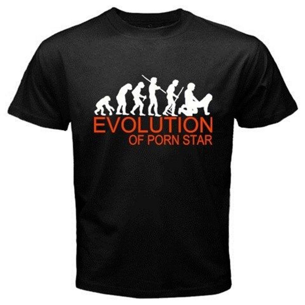 Evolution of Porn Star Sex Movies Adult Entertainment Funny Black T-Shirt E 17 2019 Cotton Short-Sleeve T-Shirt image