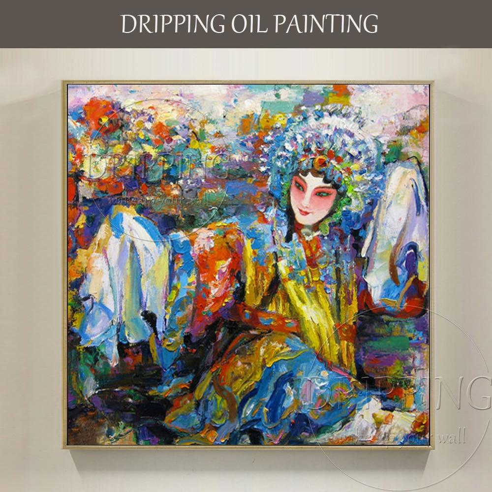 Skilled Artist Hand-painted High Quality Wall Art Chinese Drama Oil Painting Modern Peking Opera Portrait