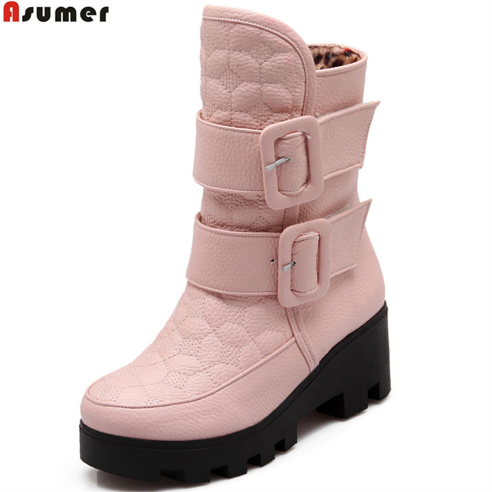 Asumer black pink white fashion women boots round toe platform ladies boots square heel buckle winter keep warm ankle boots women platform square high heel ankle boots fashion side zipper round toe shoes woman black white beige