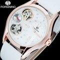 FORSINING мужская мода кварцевые часы кожаный ремешок случайные бренд мужской скелет розовое золото часы мужской часы reloj hombre