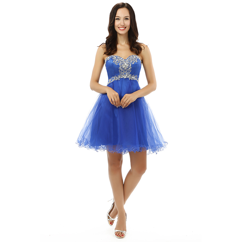 2018 Cheap In Stock Pretty Short   Prom     Dress   Blue A-Line Sweetheart Formal Wholesale Party Gown Plus Size