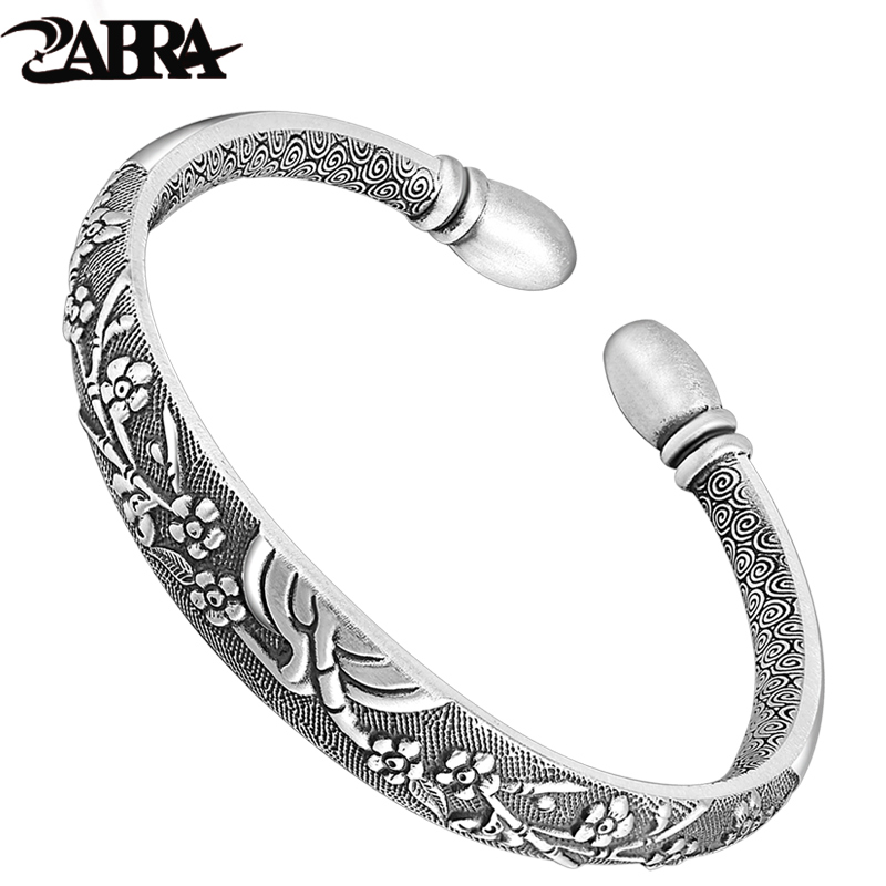 ZABRA Authentic 999 Sterling Silver Cuff Flower Bangle for Women 4mm Solid Silver Vintage Trendy Women Bracelet Fine Jewelry trendy faux pearl flower rhinestone shape cuff ring for women