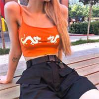 Frauen Reflektierende Tank Top Sexy Orange Gedruckt Weste Abgeschnitten Top Harajuku Sommer Mode Sleeveless Dame Mädchen Bralette Top Femme