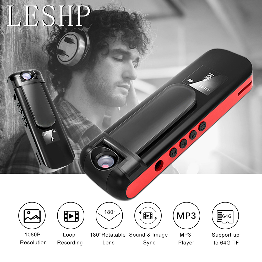 LESHP Professional Mini Camera Camcorder Recording Pen with MP3 Player 1080P Full HD Rotate Lens Voice Video Recorder DVR transctego voice recorder wireless wifi network remote video camera pen hd mini remote camera professional recording pen