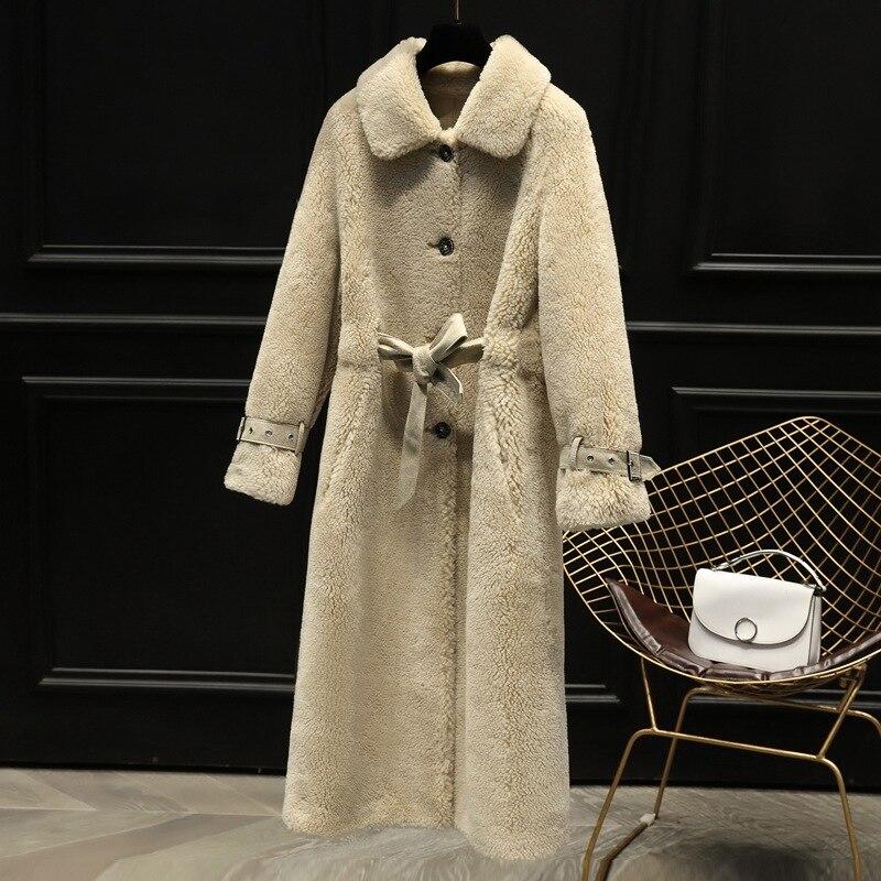 2019 nouveau hiver femmes manteau de fourrure de laine mouton Shearling longue veste pardessus femme mince ceinture dames Parka épais vêtements d'extérieur chauds