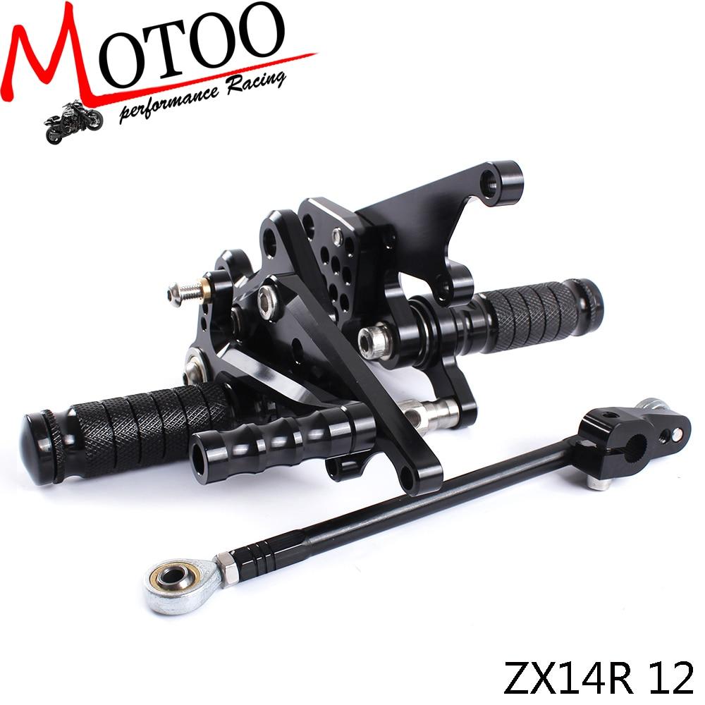 Motoo - Full CNC Aluminum Motorcycle Adjustable Rearsets Rear Sets Foot Pegs For KAWASAKI ZX14R 2012-2016Motoo - Full CNC Aluminum Motorcycle Adjustable Rearsets Rear Sets Foot Pegs For KAWASAKI ZX14R 2012-2016