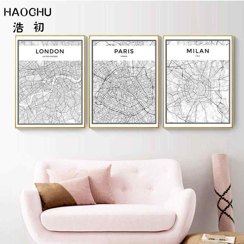 HAOCHU Black & White World City Map Paris London New York Canvas Painting For Living Room Wall Art Print Posters Home Decor