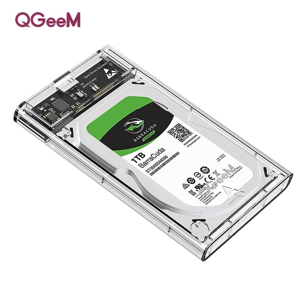 QGeeM HDD Enclosure 2.5 inch SATA to USB 3.0 SSD Adapter Hard Drive Enclosure for Samsung Seagate SSD 1TB 2TB External HDD Case