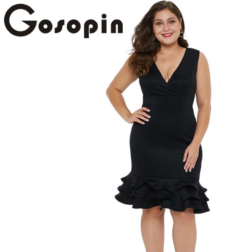 Gosopin Deep V Neck Women Night Party Dresses Plus Size Ruffles ...