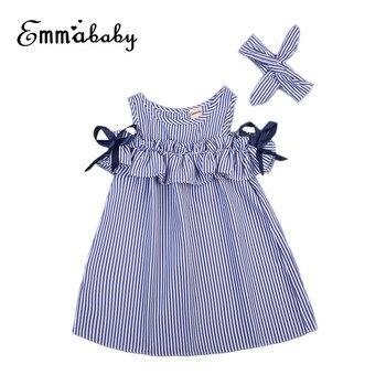 Summer Off Shoulder Dress For Girls Cute Newborn Baby Girls Short Sleeve Dress Princess Party Dresses 2018 New Striped Vestidos