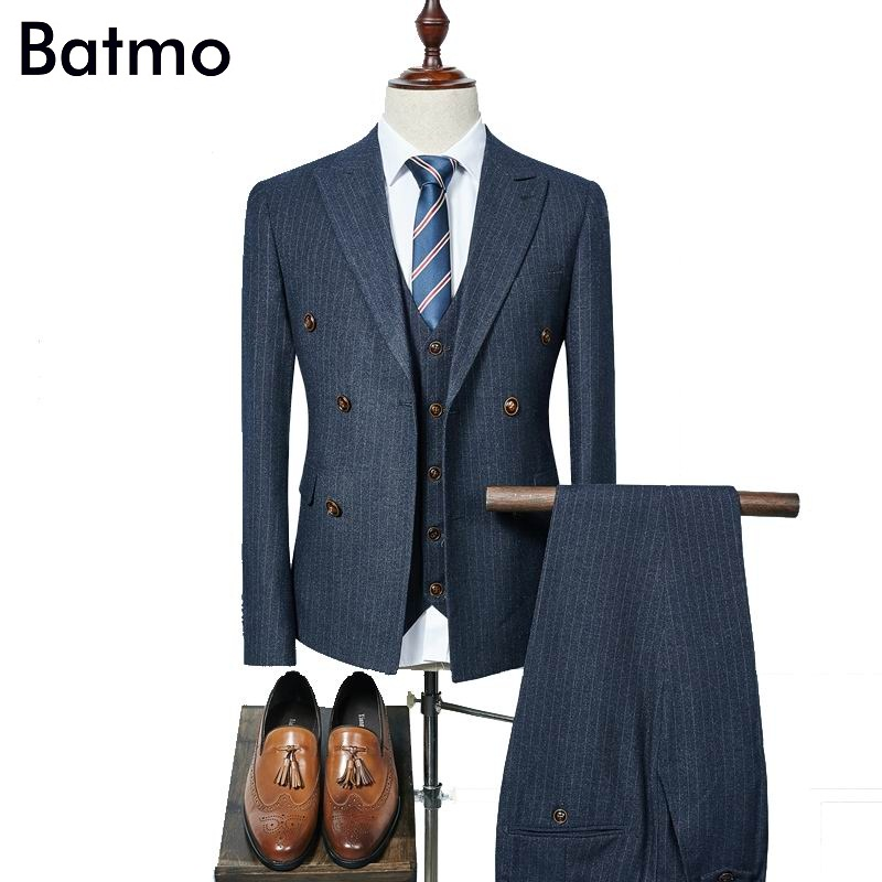 2017 new arrival high quality fashion double breasted suits men,navy blue striped men's suit,size S-XXXL, jacket+pants+vest tommy hilfiger new white navy women s size 16 slim skinny striped jeans $79 394