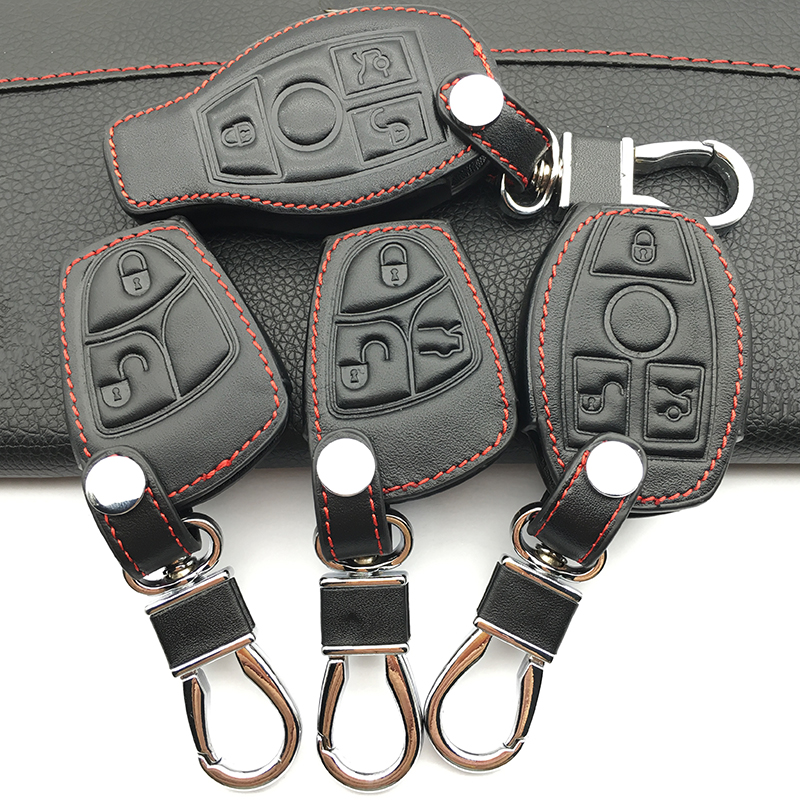 100% leather car key case car-covers For Mercedes Benz W124 W202 W203 W210 W211 W204 W205 AMG Key cases car keys accessories image