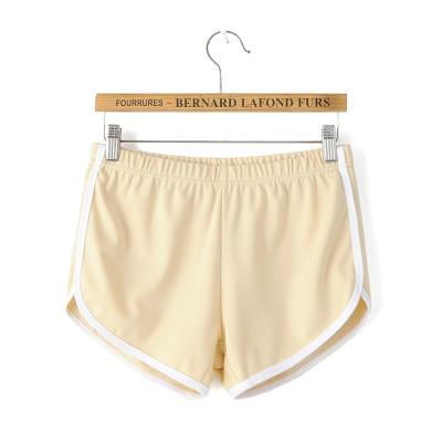 Карамельный цвет ретро пикантные стрейч шорты для женщин женские 13 цветов повседневные свободные пляжные Hotpants - Цвет: Бежевый