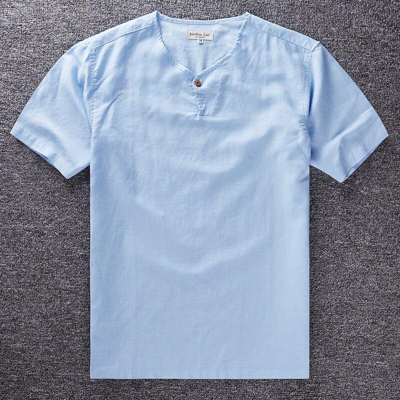 New Casual loose small collar linen Shirt Men camisa social slim Clothing Short Sleeve Shirt mens Summer autumn men dress shirts