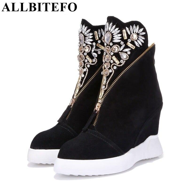 ALLBITEFO marque de mode Strass Fleur cales talon cheville bottes en cuir véritable Hauteur Augmentant maritn bottes femmes bottes