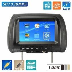 Автомобильный подголовник с экраном 7 дюймов и монитором, черный, бежевый, серый, задний монитор, видео вход и светодиодный дисплей 800x480