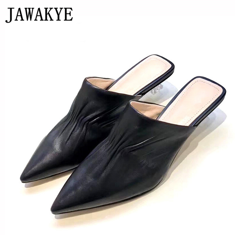 Runway Genuine Leather Clear Kitten Heel Slippers Women Pointy Toe Solid Pleated Shallow Slipper Summer Outdoor Shoes WomanRunway Genuine Leather Clear Kitten Heel Slippers Women Pointy Toe Solid Pleated Shallow Slipper Summer Outdoor Shoes Woman