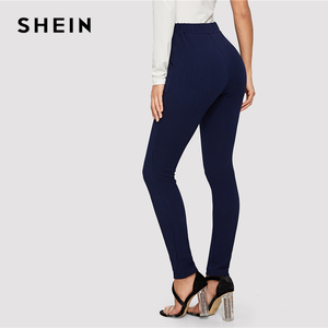 Image 2 - SHEIN Blue Pocket Side Solid Textured Elastic Waist Skinny Pants 2019 Casual Spring Women Mid Waist Tapered/Carrot Pants